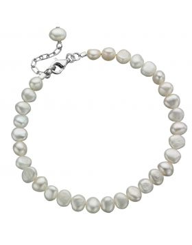 White Freshwater Pearl Single Row Bracelet (B2947W)