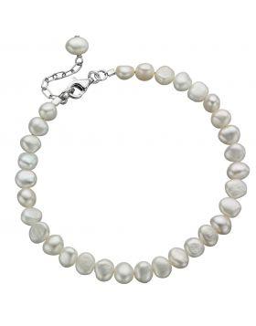 White Freshwater Pearl Single Row Bracelet (B2947W)