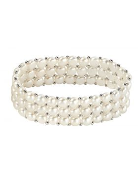 Three Strand Freshwater Pearl Stretch Bracelet
