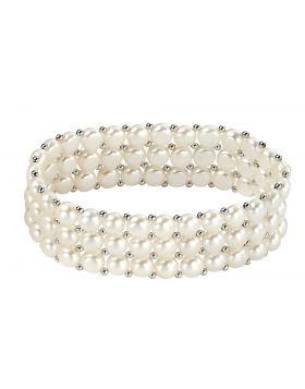 Three Strand Freshwater Pearl Stretch Bracelet