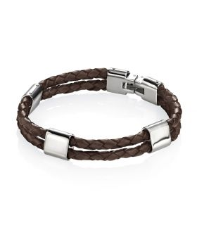 Stainless Steel Brown Leather Bracelet 21.5cm