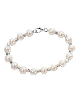 Freshwater Pearl and Textured Bead Bracelet