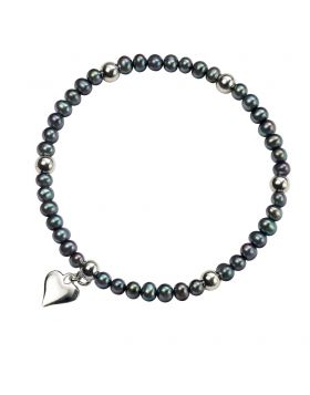 Black Freshwater Pearl and Silver Heart Bracelet