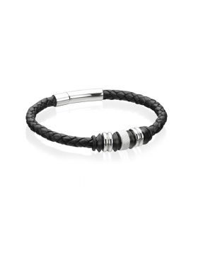 Stainless Steel Black Leather Disc 21cm Bracelet