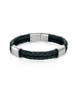 Black Leather Bracelet With Brush Finish