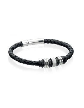 Stainless Steel Black Leather Disc 23cm Bracelet