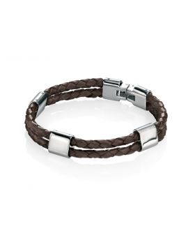 Stainless Steel Brown Leather Bracelet 23.5cm