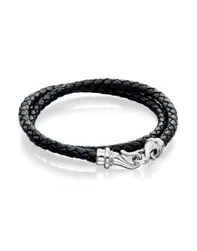 Black Leather Wrap Around Bracelet