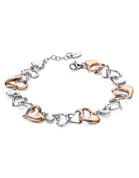 Mix Plate Heart Link Bracelet