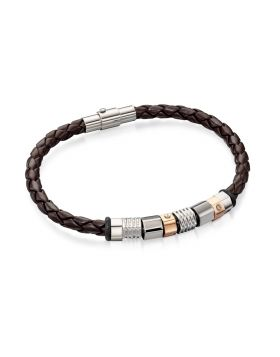 Stainless Steel Brown Leather Bracelet With Steel And Rose Pvdbeads 20cm