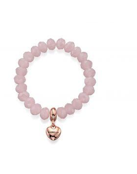 Rose Quartz Glass Bead Stretch Bracelet