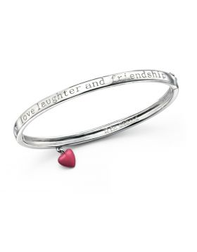 D4D Rhodium Plated Love, Laughter and Friendship Bangle
