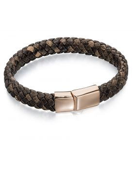 Stainless Steel Wide Plaited Brown Leather Rose Gold Bracelet 21.5cm