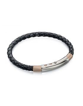 Stainless Steel Skinny Black Leather & Rose Pvd Bracelet