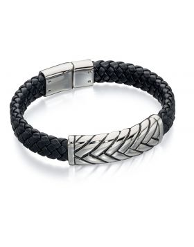 Plaited Centre Wide Black Leather Cuff