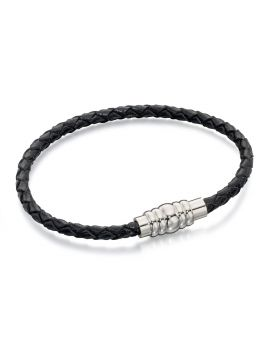 Skinny Stainless Steel Black Leather Bracelet with Magnetic Clasp 21cm