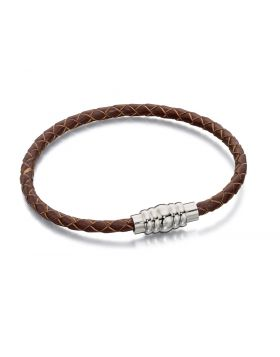 Skinny Stainless Steel Brown Leather Magnetic Bracelet