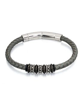 Grey Leather and Bead Adjustable Clasp Bracelet