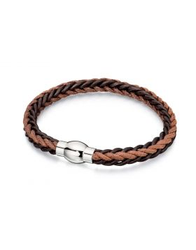 Brown Leather and Cord Plaited Bracelet