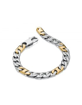 Stainless Steel and Gold Plate Link Bracelet