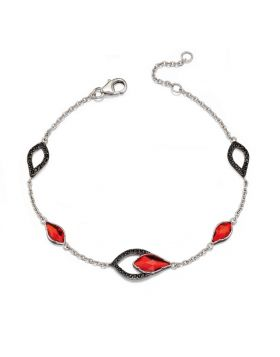 Flame Silver Red & Black Drop Bracelet