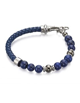 Blue Lapis Bead And Blue Leather Bracelet