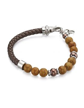 Brown Bead And Leather Bracelet