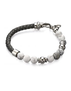 Howlite Bead And Grey Leather Bracelet