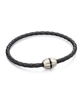 Skinny Black Leather Plaited Ss Bracelet