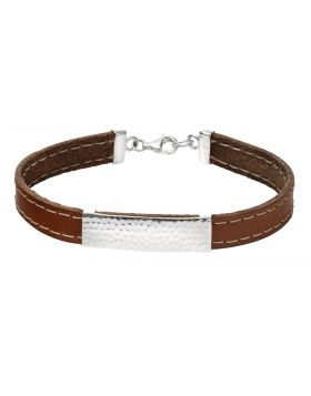 B4929 BROWN Leather ID BRACELET