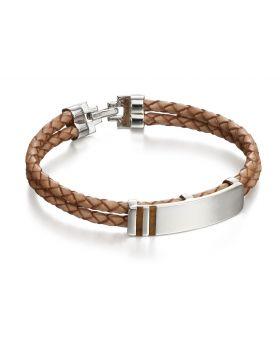 Tigers Eye Inlay Leather Bracelet