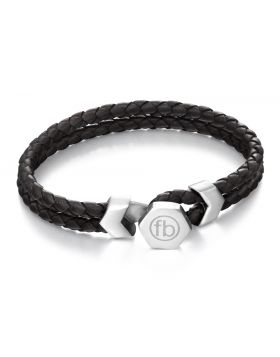 Button Fastening Stainless Steel and Black Leather Bracelet