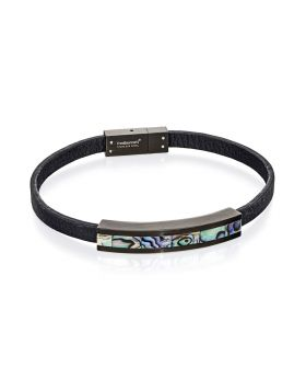 Paua Shell Black Leather Bracelet