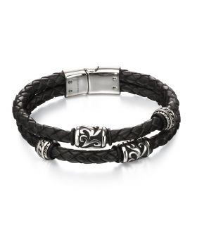 Stainless Steel Black Leather Double Strand Bracelet with Tribal Detail