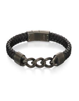 Gunmetal Curb Chain and Plait Bracelet (22.3cm)