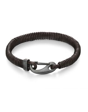 Leather Bracelet with IP Antique Clasp