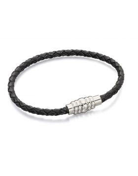 Skinny Stainless Steel Black Leather Bracelet with Magnetic Clasp 19cm