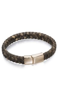 Stainless Steel Wide Plaited Brown Leather Rose Gold Bracelet 19cm