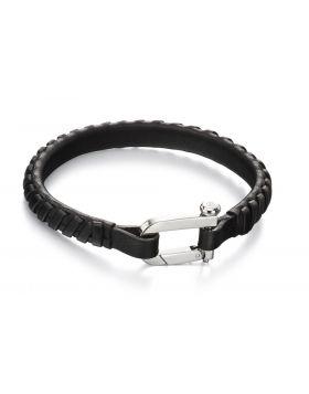 Plaited Leather Clasp Bracelet (21cm)