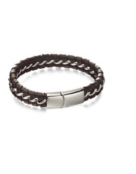 Brown Leather and steel Woven Bracelet