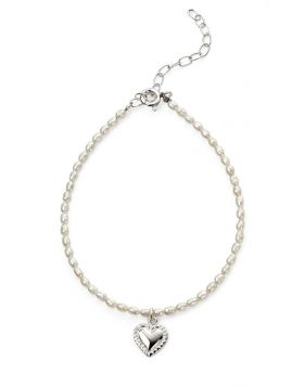 Rice pearl with heart drop bracelet