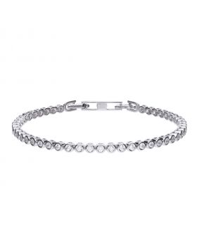 Fine tennis bracelet silver with white zirconia stones and bexel setting. Total ca 1.44 ct