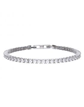 Tennis bracelet silver with white zirconia stones and prong setting. Total ca 4.70 ct