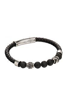 Black lava bead leather bracelet