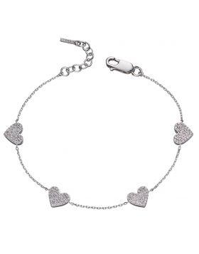 Heart with CZ pave station bracelet