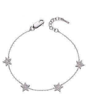 Star with CZ pave station bracelet