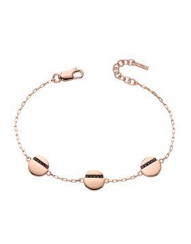 Rose gold plated disc station bracelet with tiny black CZ baguettes