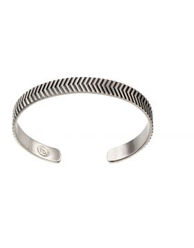Sterling silver oxidised chevron bangle