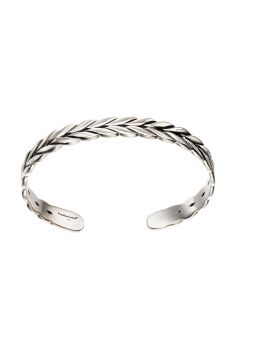 Sterling silver oxidised plaited bangle