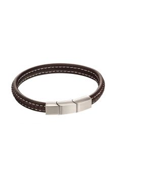 Plait Mixed brushed finish Brown leather bracelet